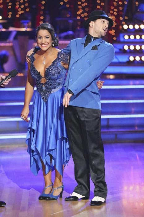 Olympic gold medalist and gymnast Aly Raisman and her partner Mark Ballas received 24 out of 30 points from the judges for their Quickstep routine on week 2 of &#39;Dancing With The Stars,&#39; which aired on March 25, 2013. They received a total of 45 out of 60 points for the past two weeks of performances. <span class=meta>(ABC Photo &#47; Adam Taylor)</span>