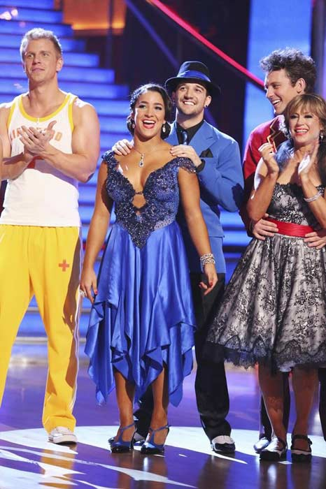 "<div class=""meta ""><span class=""caption-text "">Olympic gold medalist and gymnast Aly Raisman and her partner Mark Ballas prepare to dance on week 2 of 'Dancing With The Stars,' which aired on March 25, 2013. They received 18 out of 30 points from the judges for their Foxtrot routine. (ABC Photo / Adam Taylor)</span></div>"