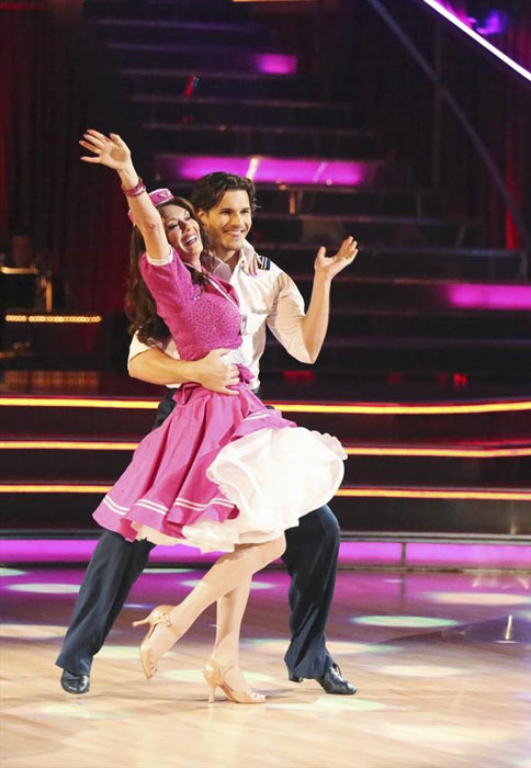 "<div class=""meta ""><span class=""caption-text "">'Real Housewives of Beverly Hills' star Lisa Vanderpump and her partner Gleb Savchenko received 18 out of 30 points from the judges for their Jive routine on week 2 of 'Dancing With The Stars,' which aired on March 25, 2013. They received a total of 36 out of 60 points for the past two weeks of performances. (ABC Photo / Adam Taylor)</span></div>"