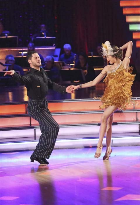 'Shake It Up' actress Zendaya Coleman and her partner Val Chmerkovskiy dance on the first results show for 'Dancing With The Stars' season 16, which aired on March 26, 2013.