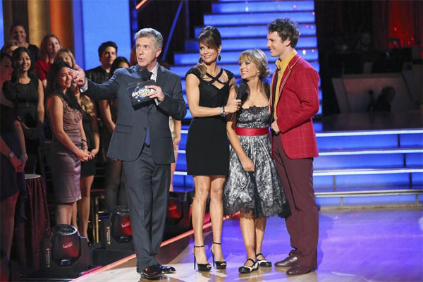 Olympic figure skater Dorothy Hamill and her partner Tristan MacManus react after withdrawing from the competition on the first results show for &#39;Dancing With The Stars&#39; season 16, which aired on March 26, 2013. They had received a total of 36 out of 60 points for the past two weeks of performances. <span class=meta>(ABC Photo &#47; Adam Taylor)</span>