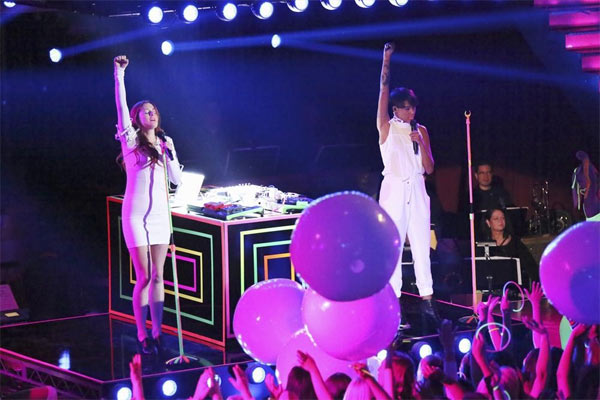 "<div class=""meta image-caption""><div class=""origin-logo origin-image ""><span></span></div><span class=""caption-text"">Icona Pop performs on the first results show for 'Dancing With The Stars' season 16, which aired on March 26, 2013. (ABC Photo / Adam Taylor)</span></div>"