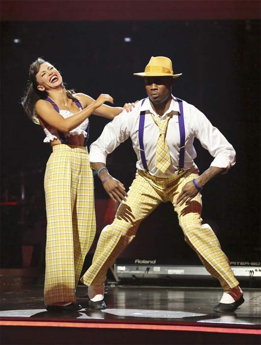 NFL star Jacoby Jones and his partner Karina Smirnoff appear on the first results show for 'Dancing With The Stars' season 16, which aired on March 26,