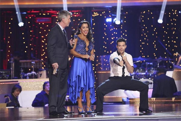 Olympic gold medalist and gymnast Aly Raisman and her partner Mark Ballas react after avoiding elimination on the first results show for &#39;Dancing With The Stars&#39; season 16, which aired on March 26, 2013. They had received a total of 45 out of 60 points for the past two weeks of performances. <span class=meta>(ABC Photo &#47; Adam Taylor)</span>