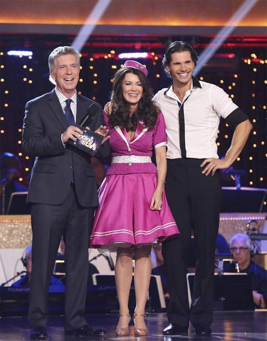 "<div class=""meta ""><span class=""caption-text "">'Real Housewives of Beverly Hills' star Lisa Vanderpump and her partner Gleb Savchenko react after avoiding elimination on the first results show for 'Dancing With The Stars' season 16, which aired on March 26, 2013. They had received a total of 36 out of 60 points for the past two weeks of performances. (ABC Photo / Adam Taylor)</span></div>"