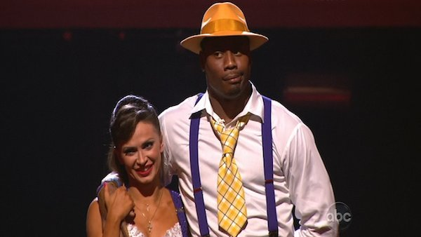 "<div class=""meta image-caption""><div class=""origin-logo origin-image ""><span></span></div><span class=""caption-text"">NFL star Jacoby Jones and his partner Karina Smirnoff appear on the first results show for 'Dancing With The Stars' season 16, which aired on March 26, 2013. They had received a total of 43 out of 60 points for the past two weeks of performances. (ABC Photo / Adam Taylor)</span></div>"
