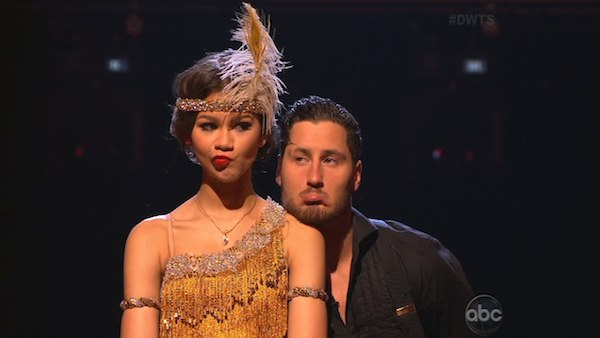 "<div class=""meta ""><span class=""caption-text "">'Shake It Up' actress Zendaya Coleman and her partner Val Chmerkovskiy appear on the first results show for 'Dancing With The Stars' season 16, which aired on March 26, 2013. They had received a total of 50 out of 60 points for the past two weeks of performances.  (ABC Photo / Adam Taylor)</span></div>"