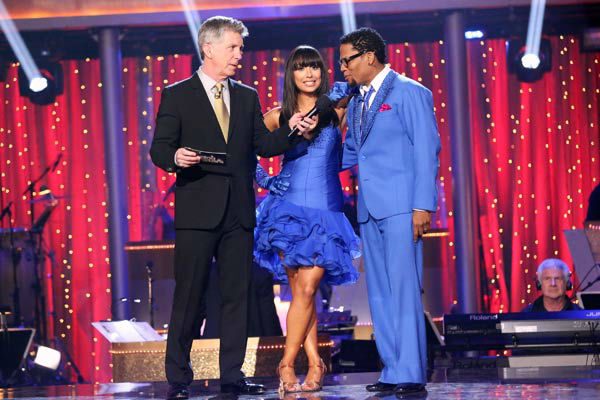 Actor and comedian D.L. Hughley and his partner Cheryl Burke await their fate on &#39;Dancing With The Stars: The Results Show&#39; on April 2, 2013. The pair received 16 out of 30 points from the judges for their Salsa on week three of &#39;Dancing With The Stars,&#39; which aired on April 1, 2013. <span class=meta>(ABC Photo&#47; Adam Taylor)</span>