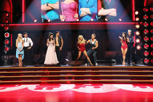 Former 'Bachelor' star Sean Lowe and his partner Peta Murgatroyd appear in a still from 'Dancing With The Stars: The Results Show' on April 2, 2013.