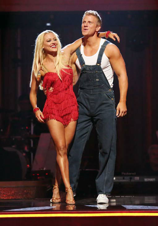 "<div class=""meta ""><span class=""caption-text "">Former 'Bachelor' star Sean Lowe and his partner Peta Murgatroyd react to being safe from elimination on 'Dancing With The Stars: The Results Show' on April 2, 2013. The pair received 21 out of 30 points from the judges for their Cha Cha Cha on week three of 'Dancing With The Stars,' which aired on April 1, 2013. (ABC Photo/ Adam Taylor)</span></div>"