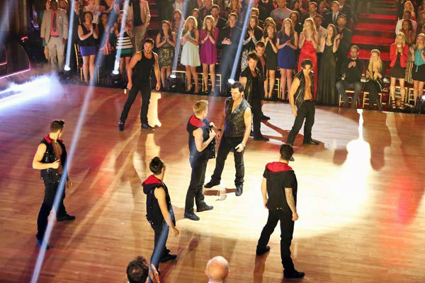 "<div class=""meta ""><span class=""caption-text "">The male Pro and Troupe dancers of 'Dancing With The Stars' performed a special routine on 'Dancing With The Stars: The Results Show' on April 2, 2013. (ABC Photo/ Adam Taylor)</span></div>"