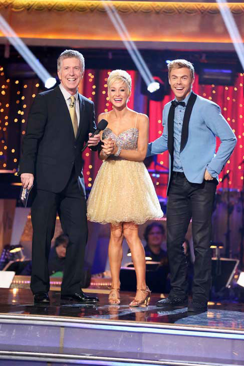 "<div class=""meta ""><span class=""caption-text "">Singer and former 'American Idol' contestant Kellie Pickler and her partner Derek Hough await their fate on 'Dancing With The Stars: The Results Show' on April 2, 2013. The pair received 25 out of 30 points from the judges for their Jive on week three of 'Dancing With The Stars,' which aired on April 1, 2013. (ABC Photo/ Adam Taylor)</span></div>"