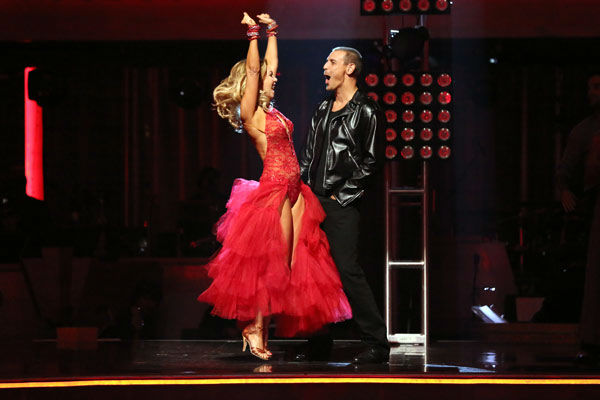"<div class=""meta ""><span class=""caption-text "">Actor Ingo Rademacher and his partner Kym Johnson react to being safe from elimination on 'Dancing With The Stars: The Results Show' on April 2, 2013. The pair received 21 out of 30 points from the judges for their Paso Doble on week three of 'Dancing With The Stars,' which aired on April 1, 2013. (ABC Photo/ Adam Taylor)</span></div>"