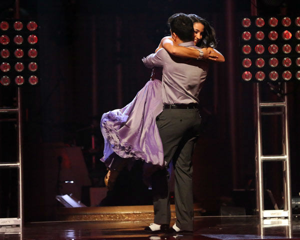 Olympic gymnast Aly Raisman and her partner Mark Ballas react to being safe from elimination on &#39;Dancing With The Stars: The Results Show&#39; on April 2, 2013. The pair received 23 out of 30 points from the judges for their Viennese Waltz on week three of &#39;Dancing With The Stars,&#39; which aired on April 1, 2013. <span class=meta>(ABC Photo&#47; Adam Taylor)</span>