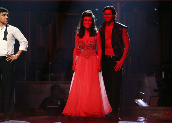 "<div class=""meta ""><span class=""caption-text "">'Real Housewives of Beverly Hills' star Lisa Vanderpump and her partner Gleb Savchenko react to learning they were in jeopardy on 'Dancing With The Stars: The Results Show' on April 2, 2013. The pair received 23 out of 30 points from the judges for their Viennese Waltz on week three of 'Dancing With The Stars,' which aired on April 1, 2013. (ABC Photo/ Adam Taylor)</span></div>"