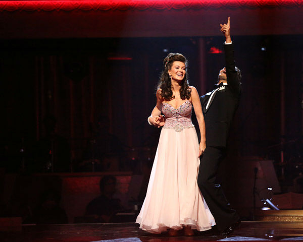 &#39;Real Housewives of Beverly Hills&#39; star Lisa Vanderpump and her partner Gleb Savchenko react to being safe from elimination on &#39;Dancing With The Stars: The Results Show&#39; on April 2, 2013. The pair received 23 out of 30 points from the judges for their Viennese Waltz on week three of &#39;Dancing With The Stars,&#39; which aired on April 1, 2013. <span class=meta>(ABC Photo&#47; Adam Taylor)</span>