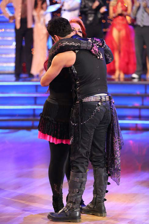 Singer Wynonna Judd and her partner Tony Dovolani appear in a still from 'Dancing With The Stars: The Results Show' on April 2, 2013.
