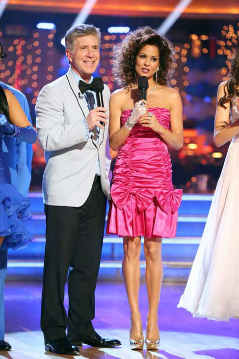 Tom Bergeron and Brooke Burke-Charvet appear on 'Dancing With The Stars' on April 1, 2013.