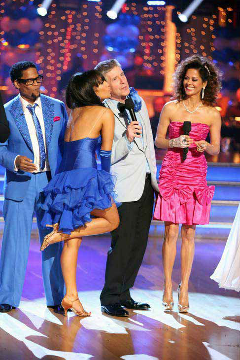 The cast of 'Dancing With The Stars' appear in a photo from the group prom dance on April 1, 2013. (Pictured: D.L. Hughley, Cheryl Burke, Tom Bergeron and Brooke Burke-Charvet.)