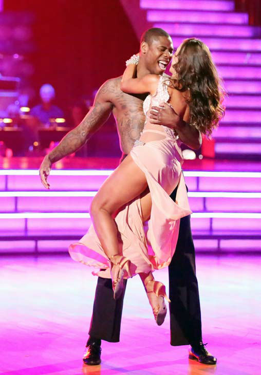 "<div class=""meta ""><span class=""caption-text "">NFL star Jacoby Jones and his partner Karina Smirnoff received 24 out of 30 points from the judges for their Rumba during week three of 'Dancing With The Stars,' which aired on April 1, 2013. (ABC Photo/ Adam Taylor)</span></div>"