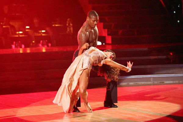 NFL star Jacoby Jones and his partner Karina Smirnoff received 24 out of 30 points from the judges for their Rumba during week three of &#39;Dancing With The Stars,&#39; which aired on April 1, 2013. <span class=meta>(ABC Photo&#47; Adam Taylor)</span>