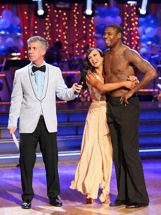 "<div class=""meta image-caption""><div class=""origin-logo origin-image ""><span></span></div><span class=""caption-text"">NFL star Jacoby Jones and his partner Karina Smirnoff received 24 out of 30 points from the judges for their Rumba during week three of 'Dancing With The Stars,' which aired on April 1, 2013. (ABC Photo/ Adam Taylor)</span></div>"