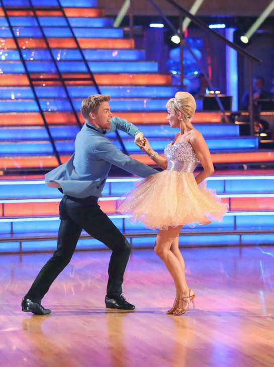Singer and former &#39;American Idol&#39; contestant Kellie Pickler and her partner Derek Hough received 25 out of 30 points from the judges for their Jive during week three of &#39;Dancing With The Stars,&#39; which aired on April 1, 2013. <span class=meta>(ABC Photo&#47; Adam Taylor)</span>