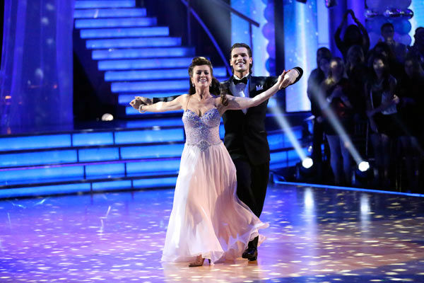 "<div class=""meta ""><span class=""caption-text "">'Real Housewives of Beverly Hills' star Lisa Vanderpump and her partner Gleb Savchenko received 21 out of 30 points from the judges for their Viennese Waltz during week three of 'Dancing With The Stars,' which aired on April 1, 2013. (ABC Photo/ Adam Taylor)</span></div>"