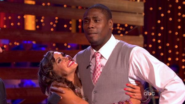 "<div class=""meta image-caption""><div class=""origin-logo origin-image ""><span></span></div><span class=""caption-text"">NFL star Jacoby Jones and his partner Karina Smirnoff received 24 out of 30 points from the judges for their Foxtrot during week 4 of season 16 of 'Dancing With The Stars,' which aired on April 8, 2013. (ABC)</span></div>"