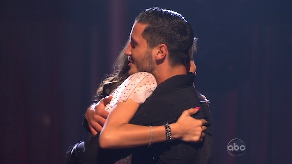 &#39;Shake It Up&#39; actress Zendaya Coleman and her partner Val Chmerkovskiy react to being safe from elimination on &#39;Dancing With The Stars: The Results Show&#39; on April 9, 2013. The pair received 26 out of 30 points from the judges for their Samba on week four of &#39;Dancing With The Stars,&#39; which aired on April 8, 2013. <span class=meta>(ABC)</span>