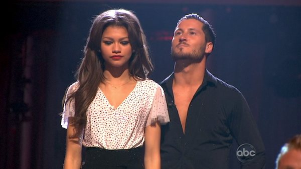 "<div class=""meta ""><span class=""caption-text "">'Shake It Up' actress Zendaya Coleman and her partner Val Chmerkovskiy await their fate on 'Dancing With The Stars: The Results Show' on April 9, 2013. The pair received 26 out of 30 points from the judges for their Samba on week four of 'Dancing With The Stars,' which aired on April 8, 2013. (ABC)</span></div>"