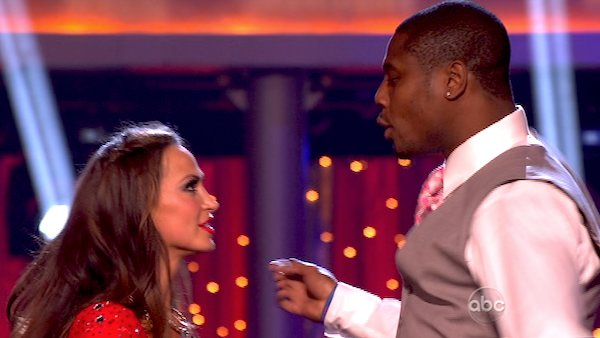 NFL star Jacoby Jones and his partner Karina Smirnoff react after avoiding elimination on the third results show for &#39;Dancing With The Stars&#39; season 16, which aired on Tuesday, April 9, 2013. They had received a total of 24 out of 30 points for their week 4 performance on Monday. <span class=meta>(ABC)</span>