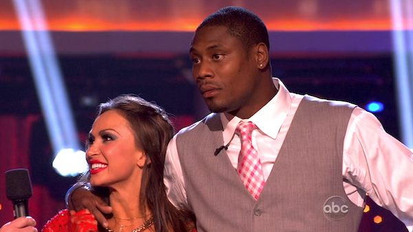 Actor Jacoby Jones and his partner Karina Smirnoff appear on the third results show for &#39;Dancing With The Stars&#39; season 16, which aired on Tuesday, April 9, 2013. They had received a total of 24 out of 30 points for their week 4 performance on Monday. <span class=meta>(ABC)</span>