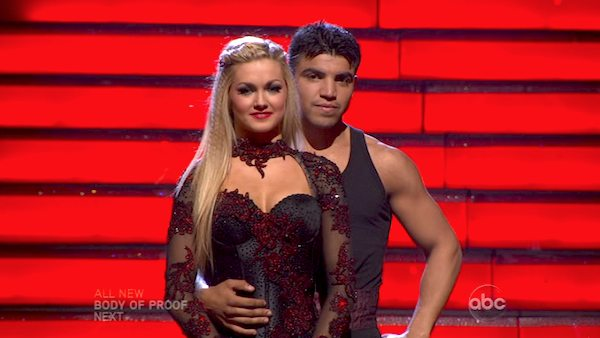 "<div class=""meta ""><span class=""caption-text "">Boxer Victor Ortiz and his partner Lindsay Arnold await their fate on 'Dancing With The Stars: The Results Show' on April 9, 2013. The pair received 18 out of 30 points from the judges for their Paso Doble on week four of 'Dancing With The Stars,' which aired on April 8, 2013. (ABC)</span></div>"