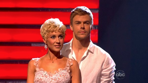 Singer and former &#39;American Idol&#39; contestant Kellie Pickler and her partner Derek Hough await their fate on &#39;Dancing With The Stars: The Results Show&#39; on April 9, 2013. The pair received 26 out of 30 points from the judges for their Rumba on week four of &#39;Dancing With The Stars,&#39; which aired on April 8, 2013. <span class=meta>(ABC)</span>
