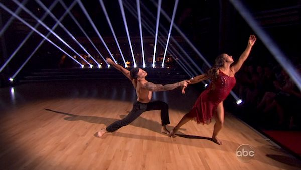 "<div class=""meta ""><span class=""caption-text "">Olympic gymnast Aly Raisman and her partner Mark Ballas performed an encore of their Contemporary routine on 'Dancing With The Stars: The Results Show' on April 9, 2013. (ABC)</span></div>"