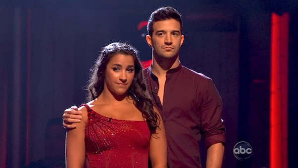 Olympic gymnast Aly Raisman and her partner Mark Ballas await their fate on &#39;Dancing With The Stars: The Results Show&#39; on April 9, 2013. The pair received 27 out of 30 points from the judges for their Contemporary routine on week four of &#39;Dancing With The Stars,&#39; which aired on April 8, 2013. <span class=meta>(ABC)</span>