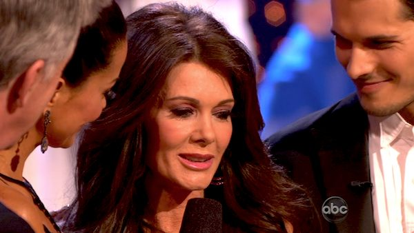 &#39;Real Housewives of Beverly Hills&#39; star Lisa Vanderpump and her partner Gleb Savchenko react to being eliminated on &#39;Dancing With The Stars: The Results Show&#39; on April 9, 2013. The pair received 18 out of 30 points from the judges for their Cha Cha Cha on week four of &#39;Dancing With The Stars,&#39; which aired on April 8, 2013. <span class=meta>(ABC)</span>