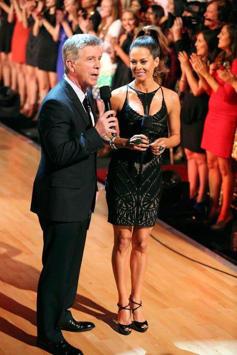 "<div class=""meta ""><span class=""caption-text "">Tom Bergeron and Brooke Burke-Charvet appear on 'Dancing With The Stars: The Results Show' on April 9, 2013. (ABC Photo/ Adam Taylor)</span></div>"