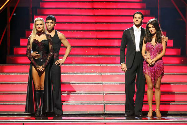 &#39;Real Housewives of Beverly Hills&#39; star Lisa Vanderpump, her partner Gleb Savchenko, boxer Victor Ortiz and his partner Lindsay Arnold await their fate on &#39;Dancing With The Stars: The Results Show&#39; on April 9, 2013. <span class=meta>(ABC Photo&#47; Adam Taylor)</span>