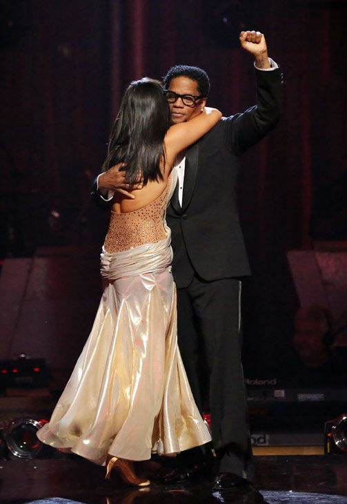 Actor and comedian D.L. Hughley and his partner Cheryl Burke react to being safe from elimination on &#39;Dancing With The Stars: The Results Show&#39; on April 9, 2013. The pair received 21 out of 30 points from the judges for their Foxtrot on week four of &#39;Dancing With The Stars,&#39; which aired on April 8, 2013. <span class=meta>(ABC Photo&#47; Adam Taylor)</span>