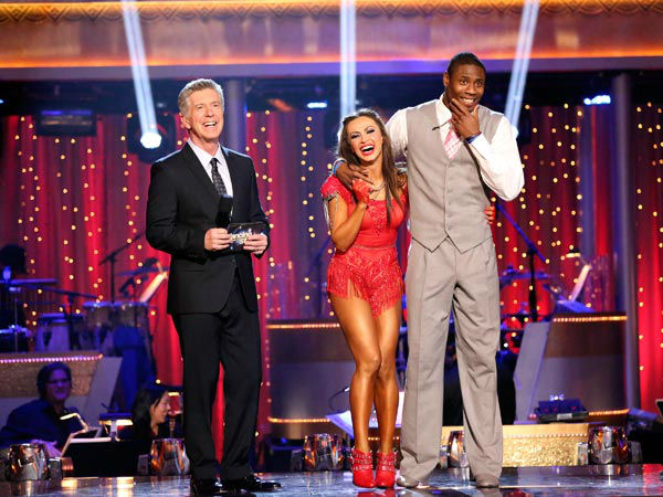 NFL star Jacoby Jones and his partner Karina Smirnoff react to being safe from elimination on &#39;Dancing With The Stars: The Results Show&#39; on April 9, 2013. The pair 24 out of 30 points from the judges for their Foxtrot on week four of &#39;Dancing With The Stars,&#39; which aired on April 8, 2013. <span class=meta>(ABC Photo&#47; Adam Taylor)</span>