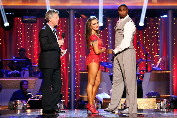 NFL star Jacoby Jones and his partner Karina Smirnoff await their fate on &#39;Dancing With The Stars: The Results Show&#39; on April 9, 2013. The pair received 24 out of 30 points from the judges for their Foxtrot on week four of &#39;Dancing With The Stars,&#39; which aired on April 8, 2013. <span class=meta>(ABC Photo&#47; Adam Taylor)</span>