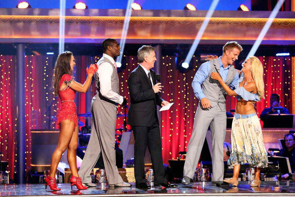"<div class=""meta ""><span class=""caption-text "">Former 'Bachelor' star Sean Lowe and his partner Peta Murgatroyd react to being safe from elimination on 'Dancing With The Stars: The Results Show' on April 9, 2013. The pair received 20 out of 30 points from the judges for their Viennese Waltz on week four of 'Dancing With The Stars,' which aired on April 8, 2013. (ABC Photo/ Adam Taylor)</span></div>"