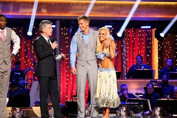 "<div class=""meta ""><span class=""caption-text "">Former 'Bachelor' star Sean Lowe and his partner Peta Murgatroyd await their fate on 'Dancing With The Stars: The Results Show' on April 9, 2013. The pair received 20 out of 30 points from the judges for their Viennese Waltz on week four of 'Dancing With The Stars,' which aired on April 8, 2013. (ABC Photo/ Adam Taylor)</span></div>"