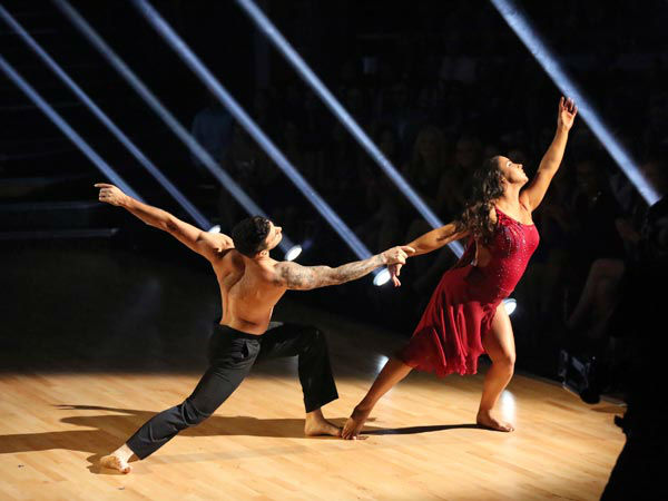 "<div class=""meta ""><span class=""caption-text "">Olympic gymnast Aly Raisman and her partner Mark Ballas performed an encore of their Contemporary routine on 'Dancing With The Stars: The Results Show' on April 9, 2013. (ABC Photo/ Adam Taylor)</span></div>"