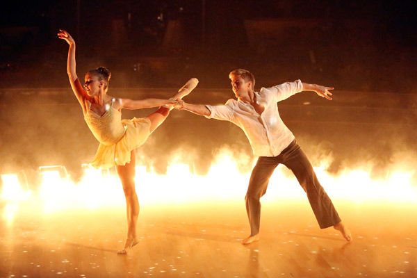 "<div class=""meta image-caption""><div class=""origin-logo origin-image ""><span></span></div><span class=""caption-text"">The first 'AT&T Spotlight Performance' of the 'Dancing With The Stars' season aired on April 9, 2013. Brilynn Rakes, a 17-year-old from San Diego who was born with nystagmus and cone dystrophy, which has caused her to become legally blind.  She was recently honored with a full scholarship to Julliard's summer workshop and danced on the show with her favorite pro, Derek Hough. The couple danced a routine to 'Stars' by Grace Potter and the Nocturnals.   (ABC Photo/ Adam Taylor)</span></div>"