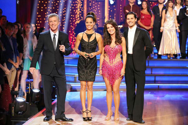 "<div class=""meta image-caption""><div class=""origin-logo origin-image ""><span></span></div><span class=""caption-text"">'Real Housewives of Beverly Hills' star Lisa Vanderpump and her partner Gleb Savchenko react to being eliminated on 'Dancing With The Stars: The Results Show' on April 9, 2013. The pair received 18 out of 30 points from the judges for their Cha Cha Cha on week four of 'Dancing With The Stars,' which aired on April 8, 2013. (ABC Photo/ Adam Taylor)</span></div>"