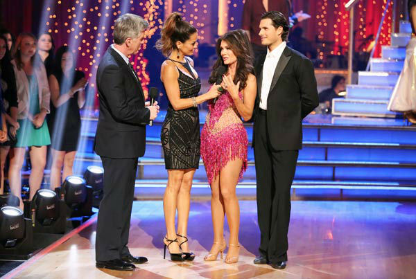 &#39;Real Housewives of Beverly Hills&#39; star Lisa Vanderpump and her partner Gleb Savchenko react to being eliminated on &#39;Dancing With The Stars: The Results Show&#39; on April 9, 2013. The pair received 18 out of 30 points from the judges for their Cha Cha Cha on week four of &#39;Dancing With The Stars,&#39; which aired on April 8, 2013. <span class=meta>(ABC Photo&#47; Adam Taylor)</span>