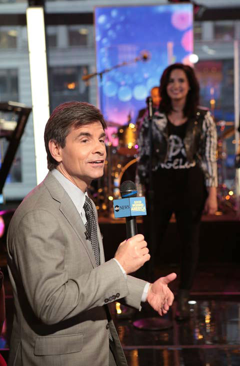'Good Morning America' host George Stephanopoulos introduces Demi Lovato on April 10, 2013.